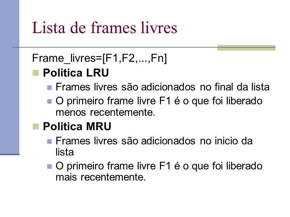 Lista de frames livres Frame_livres=[F1,F2,...,Fn] Politica LRU
